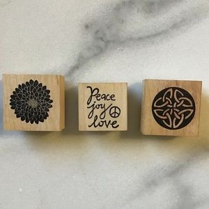 Lot of 3 Paper Source Rubber Stamps